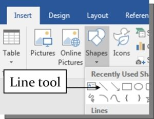 The line tool in Word is useful for adding writing spaces.