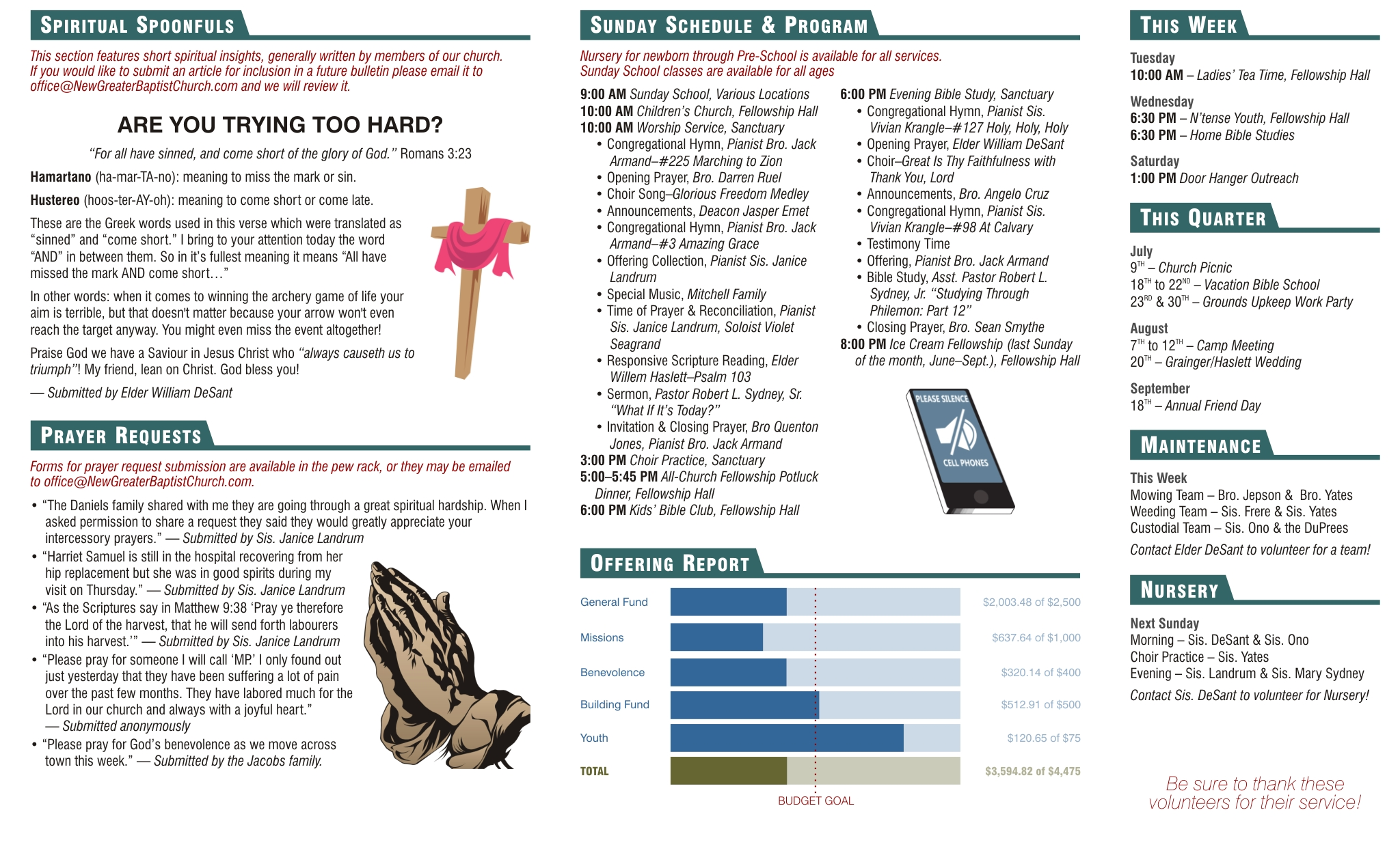 Church bulletin how to make your church bulletin as for Weekly bulletin template