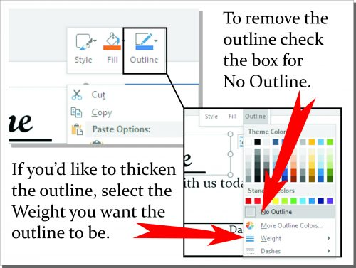 Offering envelope tutorial - remove or edit textbox outline