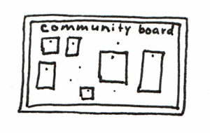 Community board for church event promotion.