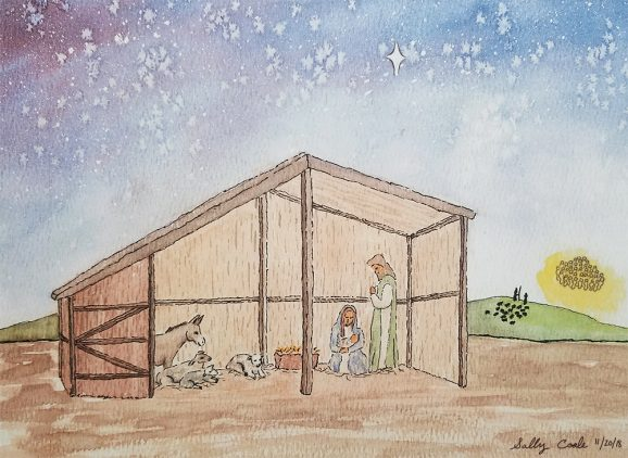 Nativity scene drawing and painting