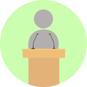 Illustration showing communication from the pulpit.
