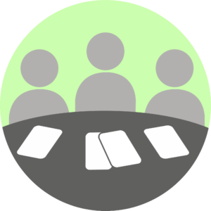 Illustration showing communication through meetings.