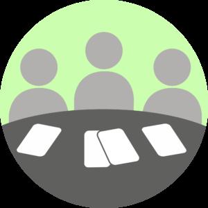 Illustration showing communication through meetings.