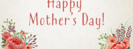 """""""Happy Mother's Day"""" worship slide with textured background on floral decorations on the bottom corners"""