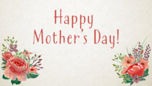 """Happy Mother's Day"" worship slide with textured background on floral decorations on the bottom corners"